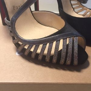 Christian Louboutin Shoes - LOUBOUTIN SCOUBRIDOU 120 SATIN/SPECC/GLITTER MINI